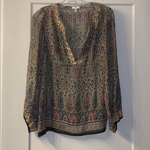 Joie Medium Sheer Long Sleeve Gold embroidery top